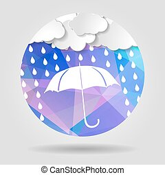 umbrella with clouds and rain drops on the Abstract geometric ci