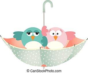 Umbrella with couple birds