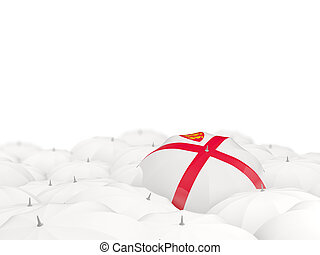 Umbrella with flag of jersey isolated on white. 3D illustration