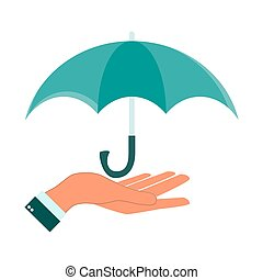 Umbrella with hand icon, vector illustration. Flat design style