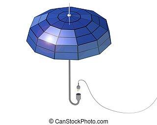 Umbrella with solar panels