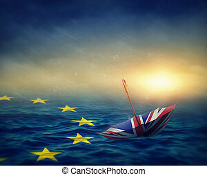Brexit concept - Umbrella with the flag of the United ...