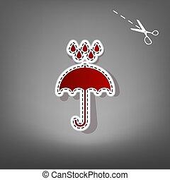 Umbrella with water drops. Rain protection symbol.