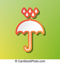 Umbrella with water drops. Rain protection symbol. Flat design style. Contrast icon with reddish stroke on green backgound.