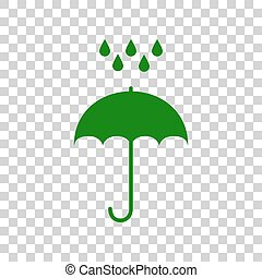 Umbrella with water drops. Rain protection symbol. Flat design style. Dark green icon on transparent background.