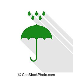 Umbrella with water drops. Rain protection symbol. Flat design style. Green icon with flat style shadow path.
