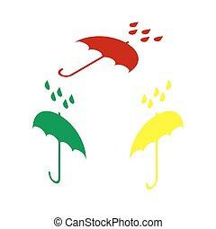 Umbrella with water drops. Rain protection symbol. Flat design style. Isometric style of red, green and yellow icon.