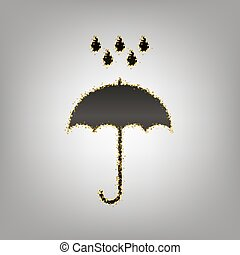 Umbrella with water drops. Rain protection symbol. Flat design s