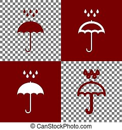 Umbrella with water drops. Rain protection symbol. Flat design style. Vector. Bordo and white icons and line icons on chess board with transparent background.