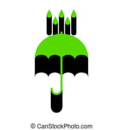 Umbrella with water drops. Rain protection symbol.