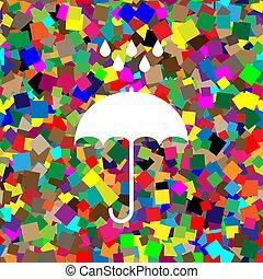 Umbrella with water drops. Rain protection symbol. Flat design s