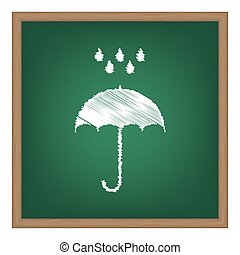 Umbrella with water drops. Rain protection symbol. Flat design style. White chalk effect on green school board.