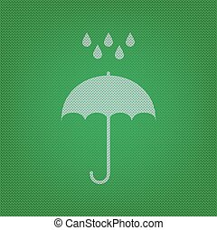 Umbrella with water drops. Rain protection symbol. Flat design style. white icon on the green knitwear or woolen cloth texture.