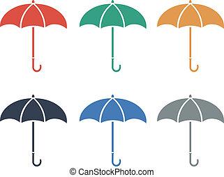 Umbrellacolor flat icon color set