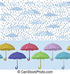 Seamless background, colorful umbrellas, clouds and blue rain drops. Vector