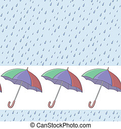 Umbrellas and rain, seamless background