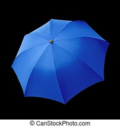 Blue umbrellas isolated over a black background