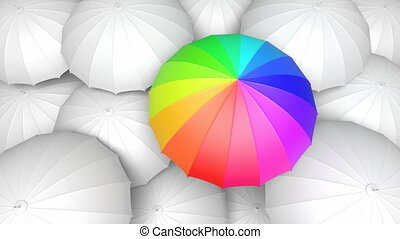 Looping 3D animation of the colorful umbrella standing out from the others