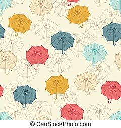 umbrellas., cute, padrão, seamless, ilustração, vetorial