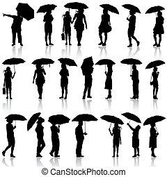 umbrellas., ensemble, illustration., hommes, silhouettes, vecteur, noir, femmes