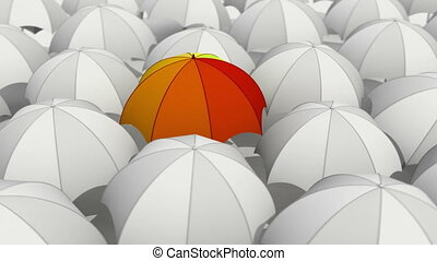 Umbrellas - One colored umbrella among set of white...