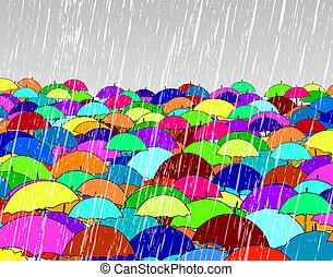 Umbrellas - Illustration of umbrellas in rain