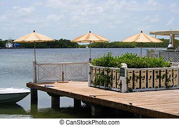 Umbrellas on a deck