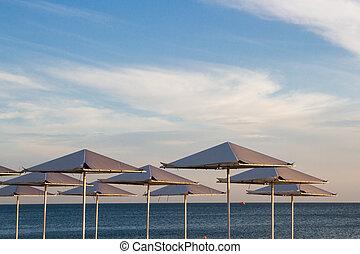 Umbrellas on the beach on the black sea