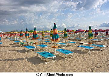 umbrellas on the beach - beach with umbrellas and sunbeds...
