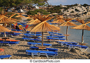 Umbrellas on the sea beach