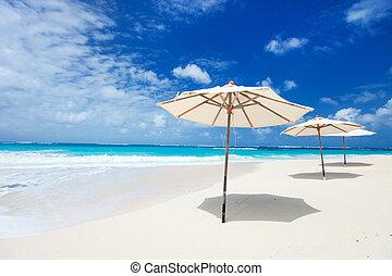 Umbrellas on tropical beach
