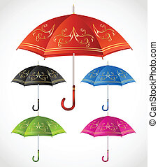 Umbrellas ornamental set. Vector