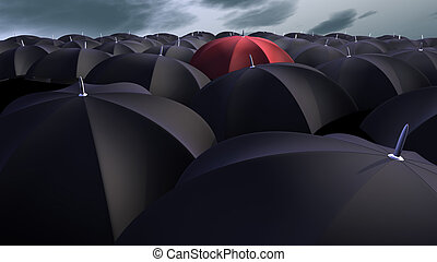 Umbrellas - red umbrella between a lot of  black umbrellas