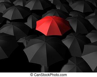 umbrellas - 3d rendered illustration of black and red...