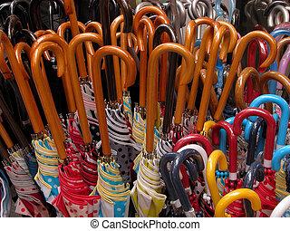 "Umbrellas - a ""forest""of umbrellas handles...."