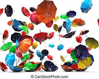 umbrellas isolated on white background