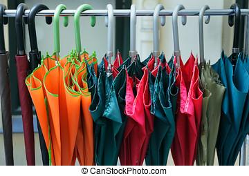 Umbrellas ready for use