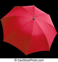 Umbrellas - Red umbrella isolated over a black background