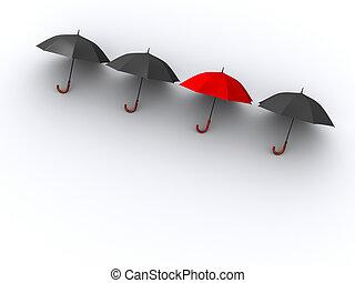 Umbrellas - Three black umbrellas and a red one - 3d render