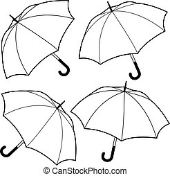 Umbrellas. Vector black and white coloring page