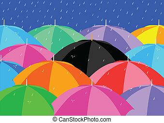 Umbrellas - Black Umbrella among Colourful Umbrellas