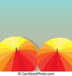 umbrellas., vetorial, ilustração
