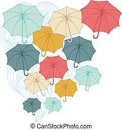 umbrellas., vetorial, ilustração, outono, collor, fundo