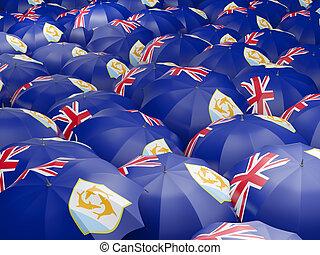 Umbrellas with flag of anguilla
