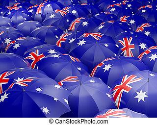 Umbrellas with flag of australia