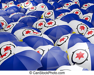 Flag of bonaire on umbrella. 3D illustration