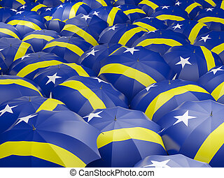 Umbrellas with flag of curacao