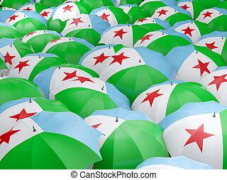 Umbrellas with flag of djibouti