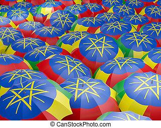 Umbrellas with flag of ethiopia