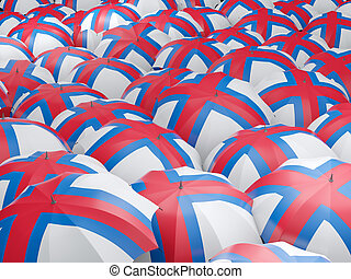 Umbrellas with flag of faroe islands